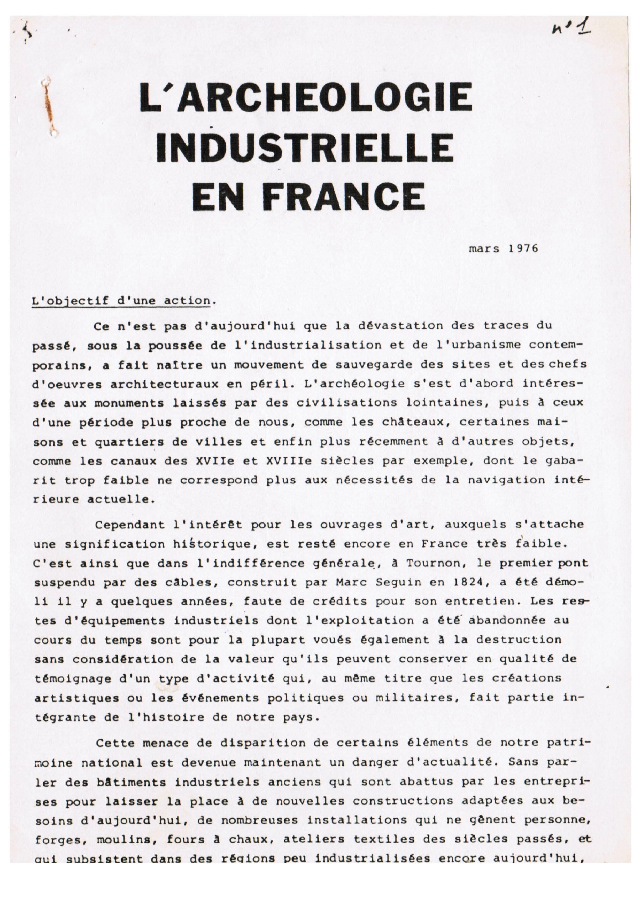 Couverture AIF numéro 01 - mars 1976